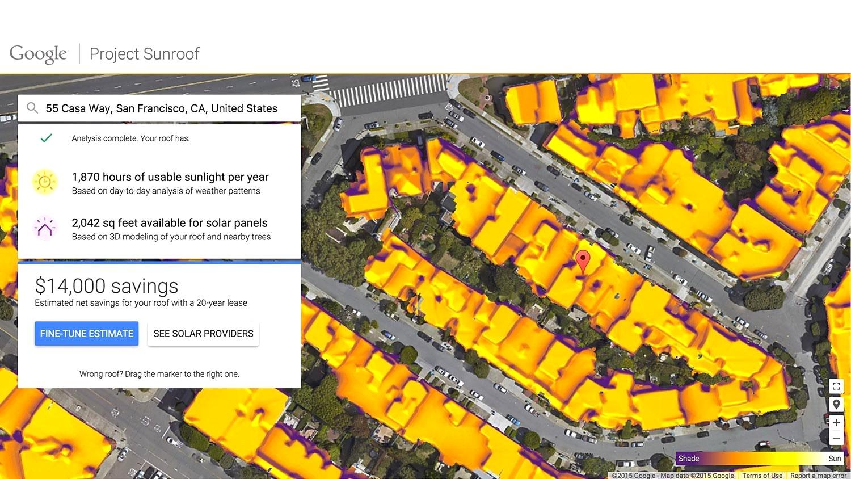 Google Project Sunroof показывает на сколько полезна ваша крыша