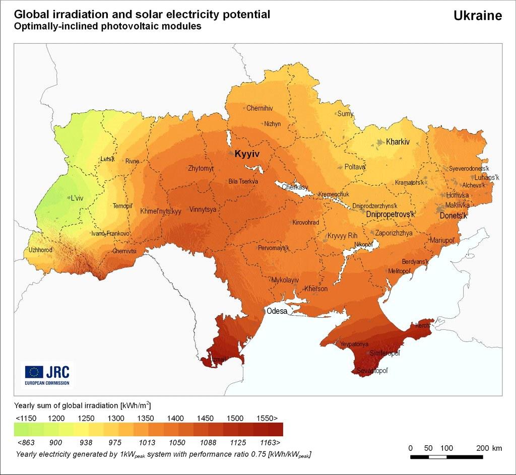Карта солнечной активности в Украине