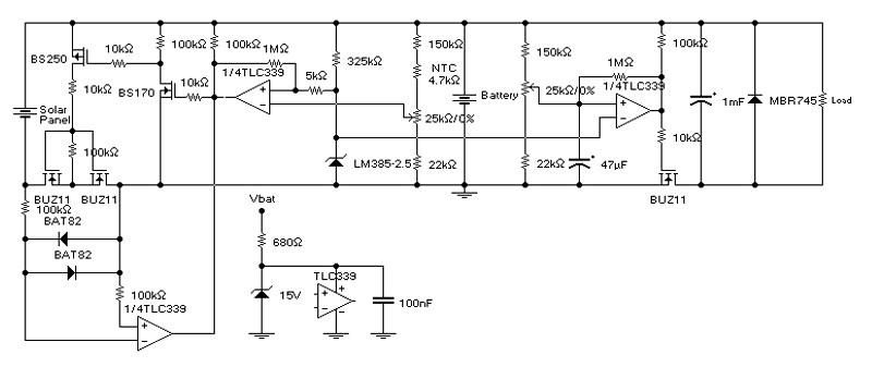 Схема контроллера заряда для солнечной батареи
