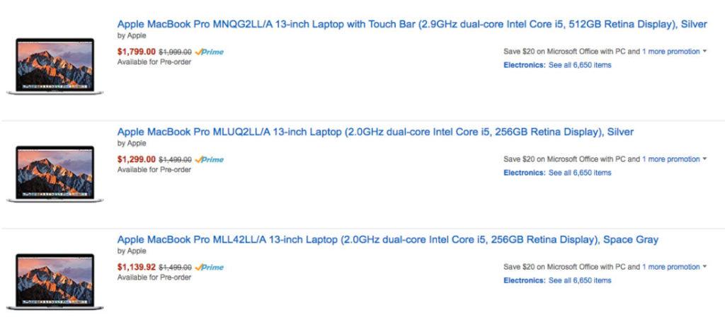 Amazon случайно снизил цены на MacBook Pro