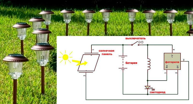 газонный светильник на солнечной батарее схема