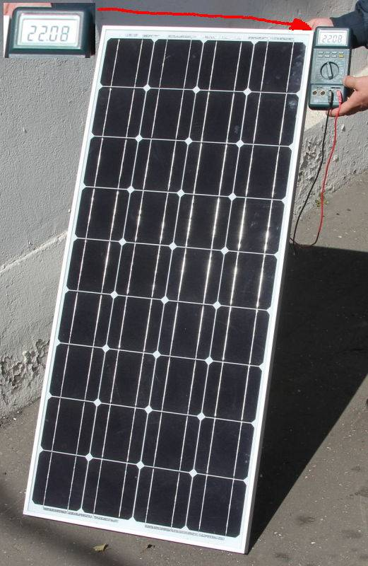 Измерьте вольтметром напряжение холостого хода солнечной батареии