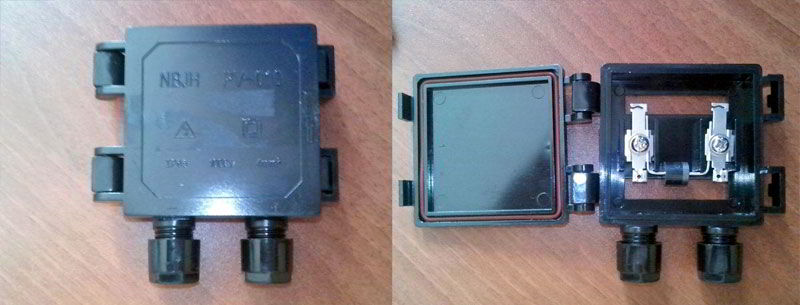 герметичная коробку с диодом  для солнечных батарей